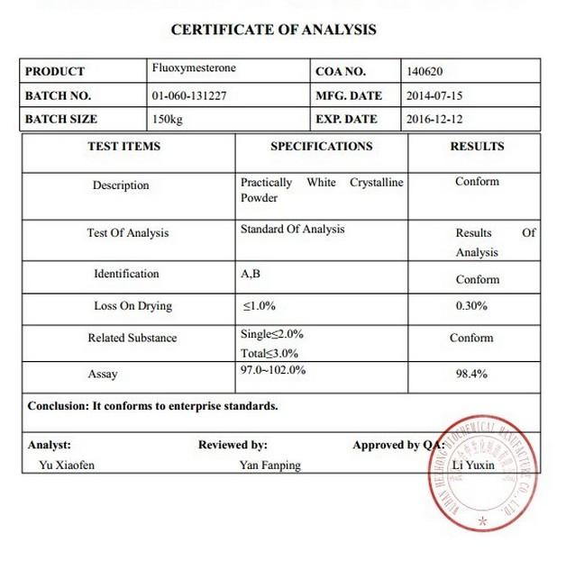 USP30 Standard Muscle Building Steroids of Fluoxymesterone CAS 76-43-7